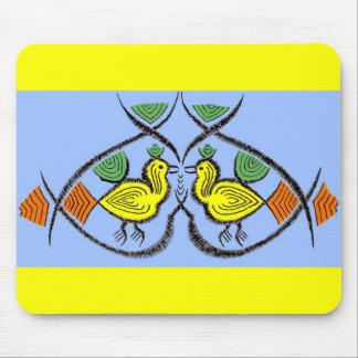 two folk art birds mouse pad