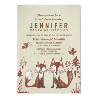 Two Foxes Woodland Bridal Shower Card