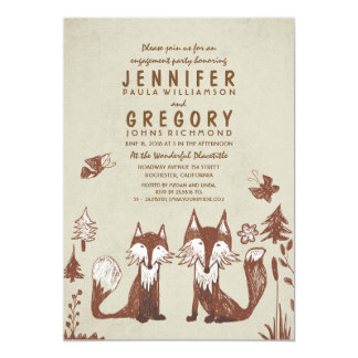 Two Foxes Woodland Engagement Party Card