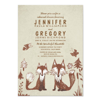 Two Foxes Woodland Rehearsal Dinner Card