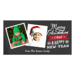 Two Framed Merry Christmas Chalkboard Photo Greeting Card
