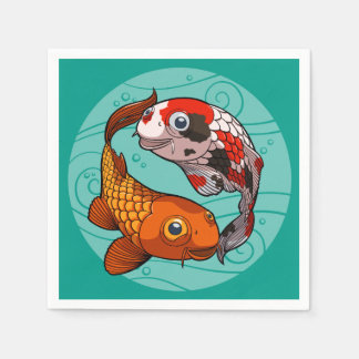 Two Friendly Koi Carp Swimming in a Circle Cartoon Napkin