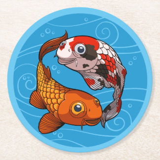 Two Friendly Koi Carp Swimming in a Circle Cartoon Round Paper Coaster