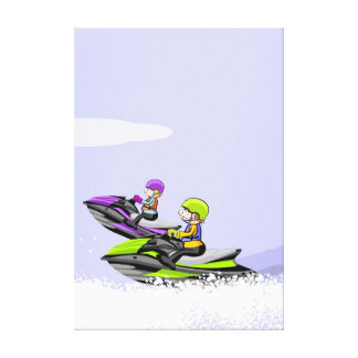 Two friendly taking a walk in its jet ski quickly canvas print