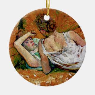 Two Friends by Toulouse-Lautrec  (Version 2) Ceramic Ornament