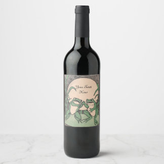Two Fun Arguing Green Frogs on Lily Pad Full Moon Wine Label