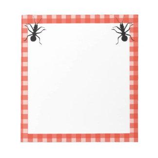 Two Fun Big Black ants red White Plaid Border Notepad
