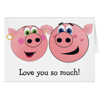 Two Funny Cartoon Pigs in Love Greeting Card