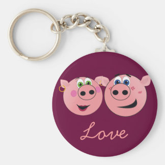 Two Funny Cartoon Pigs in Love Basic Round Button Keychain