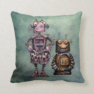 Two Funny Kid's Steampunk Robots! Throw Pillow