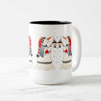 Two Funny Snowmen Christmas Gift Mugs
