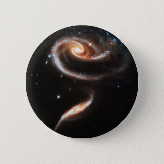Two Galaxies Interacting Galaxy Nebula Stars Sun 2 Inch Round Button
