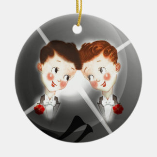 Two Gay Men Couple In Tuxedos Adorable Vintage Round Ceramic Ornament