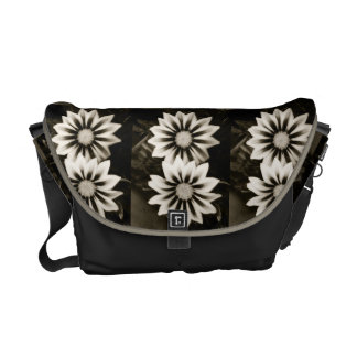 Two Gazania Flowers Black And White Commuter Bag