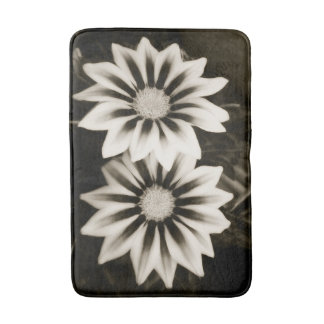 Two Gazanias Black And White Bath Mat