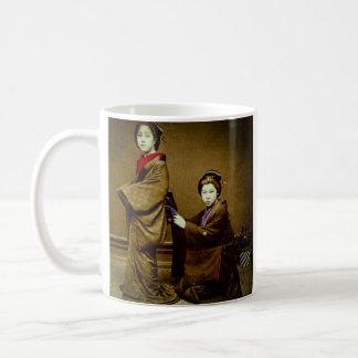 Two Geisha Adjusting a Kimono Vintage Japanese Coffee Mug