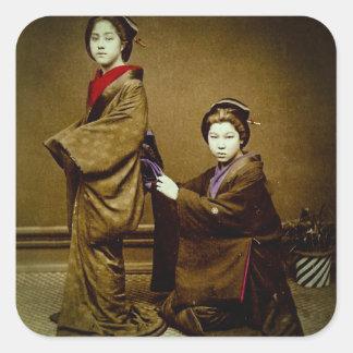 Two Geisha Adjusting a Kimono Vintage Japanese Square Sticker