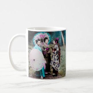 Two Geisha and a Maiko and Parasols Old Japan Coffee Mug