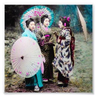 Two Geisha and a Maiko and Parasols Old Japan Photo