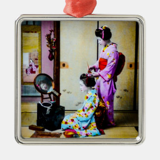 Two Geisha Doing Hair Vintage Old Japanese Silver-Colored Square Ornament