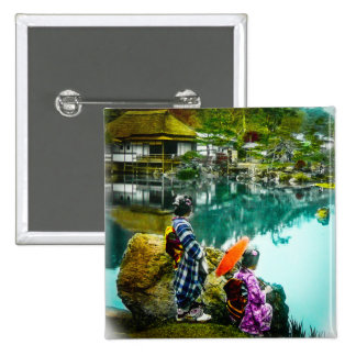Two Geisha Enjoy a Day at the Park Vintage Japan 2 Inch Square Button