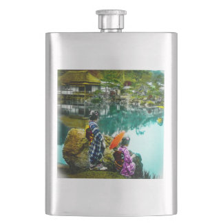 Two Geisha Enjoy a Day at the Park Vintage Japan Hip Flask