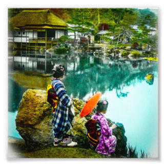 Two Geisha Enjoy a Day at the Park Vintage Japan Photo Print