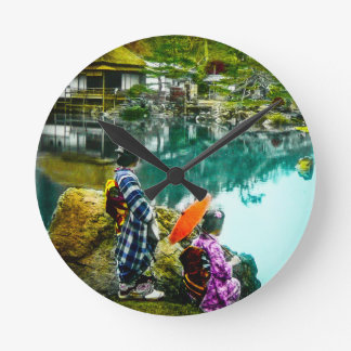 Two Geisha Enjoy a Day at the Park Vintage Japan Round Clock