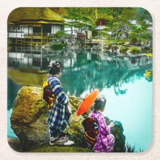 Two Geisha Enjoy a Day at the Park Vintage Japan Square Paper Coaster