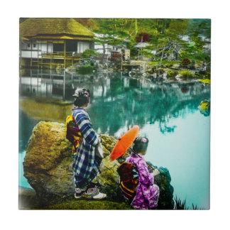 Two Geisha Enjoy a Day at the Park Vintage Japan Tile