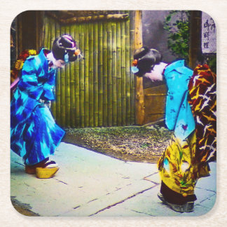 Two Geisha Greeting One Another Bright Kimonos Square Paper Coaster