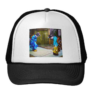 Two Geisha Greeting One Another Bright Kimonos Trucker Hat