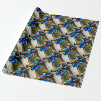 Two Geisha Greeting One Another Bright Kimonos Wrapping Paper