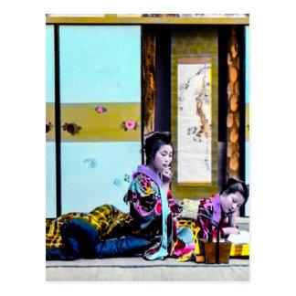Two Geisha Smoking Before Bed Vintage Japan Postcard