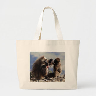 Two gelada baboons (Theropithecus gelada) Large Tote Bag