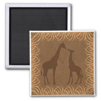 Two Giraffe Silhouettes (Safari Theme) Magnet
