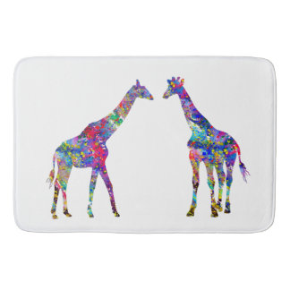 Two Giraffes Bath Mat