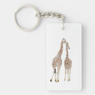 Two Giraffes Double-Sided Rectangular Acrylic Keychain