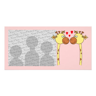 Two Giraffes with Red Love Hearts. Cartoon Picture Card