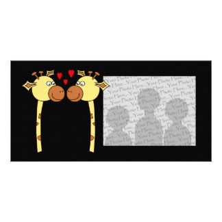 Two Giraffes with Red Love Hearts. Cartoon Photo Greeting Card