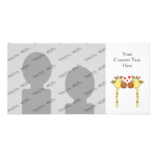 Two Giraffes with Red Love Hearts. Cartoon Personalized Photo Card