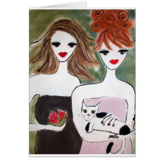 Two girls and a cat card