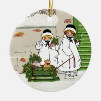 Two Girls and Pig in Sled Vintage Christmas Ceramic Ornament