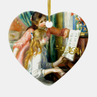 Two Girls at the Piano - Pierre Auguste Renoir Ceramic Heart Ornament