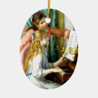 Two Girls at the Piano - Pierre Auguste Renoir Ceramic Oval Ornament