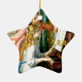 Two Girls at the Piano - Pierre Auguste Renoir Ceramic Star Ornament
