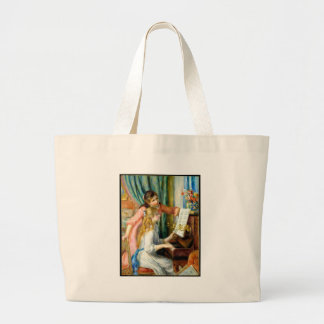 Two Girls at the Piano - Pierre Auguste Renoir Large Tote Bag