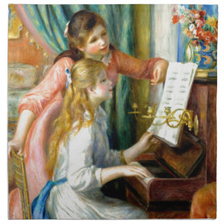 Two Girls at the Piano - Pierre Auguste Renoir Napkin