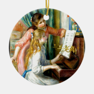 Two Girls at the Piano - Pierre Auguste Renoir Round Ceramic Ornament