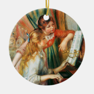 Two Girls at the Piano, Pierre Auguste Renoir Round Ceramic Ornament